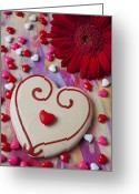 Valentines Day Greeting Cards - Cookie And Candy Hearts Greeting Card by Garry Gay