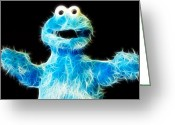 Oatmeal Greeting Cards - Cookie Monster - Sesame Street - Jim Henson Greeting Card by Lee Dos Santos