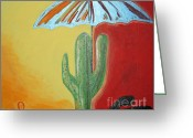 Crayon Painting Greeting Cards - Cool Cactus Greeting Card by Travianno