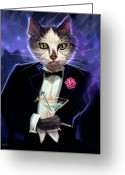 Feline Painting Greeting Cards - Cool cat Greeting Card by Jeff Haynie