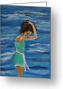Woman In Pool Greeting Cards - Cool Ocean Breeze Greeting Card by Leslie Allen