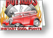 Ford Street Rod Greeting Cards - Cool Points Greeting Card by Lyle Brown