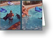 Woman In Pool Greeting Cards - Cooling Off - Gently cross your eyes and focus on the middle image Greeting Card by Brian Wallace