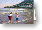 Little Girls Greeting Cards - Cooling Off Greeting Card by Roelof Rossouw