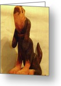 Animal Sculpture Sculpture Greeting Cards - Coonhound Greeting Card by Russell Ellingsworth