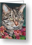 Spiritual Art Greeting Cards - Cooper the Cat Greeting Card by Enzie Shahmiri