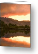 The Lightning Man Greeting Cards - Coot lake Wild Fire Sunset Greeting Card by James Bo Insogna