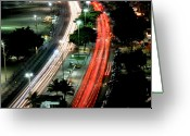 Long Street Photo Greeting Cards - Copacabana At Night Greeting Card by Luiz Felipe Castro