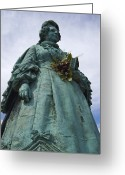 Holding Flower Greeting Cards - Copenhagen, Denmark, A Statue Holds Greeting Card by Keenpress