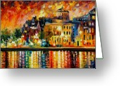 Afremov Greeting Cards - COPENHAGEN Original Oil Painting  Greeting Card by Leonid Afremov