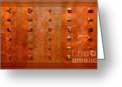 Interesting Art Greeting Cards - Copper Abstract Greeting Card by Carol Groenen