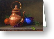 Red And Tea Greeting Cards - Copper and Cobalt 16 x 20 Greeting Card by Cody DeLong