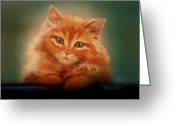 Curious Greeting Cards - Copper-colored Kitty Greeting Card by Evie Cook