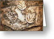 New York City Reliefs Greeting Cards - Copper Leaves Embossed Greeting Card by Abhishek Das