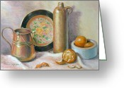 Tangerines Greeting Cards - Copper Pot with Tangerines Greeting Card by Theresa Shelton