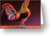 Imaginary Realism Greeting Cards - Copper Rooster Greeting Card by Bob Coonts