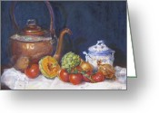 Vegetables Pastels Greeting Cards - Copper Still Life Greeting Card by Vicki Ross