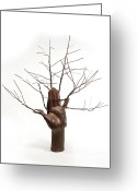 Surrealism Sculpture Greeting Cards - Copper Tree Hand a sculpture by Adam Long Greeting Card by Adam Long