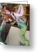 Surrealism Sculpture Greeting Cards - Copperhair Mermaid with ball Greeting Card by Heather  Whitney