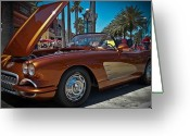 1957 Corvette Greeting Cards - Coppertone SPF 57 Greeting Card by DigiArt Diaries by Vicky Browning