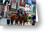 New York Cops Greeting Cards - Cops in Manhattan Greeting Card by Pravine Chester