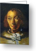 Prodigal Painting Greeting Cards - Copy of Rembrandt Portrait of a Lady with Ostrich Feather Fan Greeting Card by MendyZ M Zimmerman