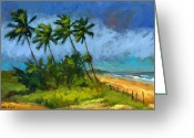 Palm Trees Greeting Cards - Coqueiros de Massarandupio Greeting Card by Douglas Simonson