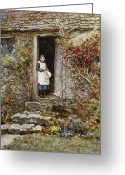 Standing Painting Greeting Cards - Corcorus Japonica Greeting Card by Helen Allingham