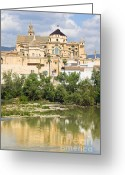 Historical Site Greeting Cards - Cordoba Cathedral and Guadalquivir River Greeting Card by Artur Bogacki