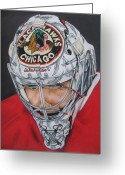 Pads Drawings Greeting Cards - Corey Crawford Greeting Card by Brian Schuster