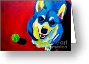 Dawgart Greeting Cards - Corgi - Play Ball Greeting Card by Alicia VanNoy Call