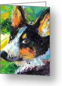 Dog Prints Drawings Greeting Cards - Corgi Dog portrait Greeting Card by Svetlana Novikova