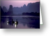 Fishers Greeting Cards - Cormorant Fishers Work The Li River Greeting Card by Kenneth Ginn