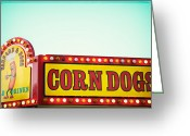 Fairgrounds Greeting Cards - Corn Dogs Greeting Card by Kim Fearheiley