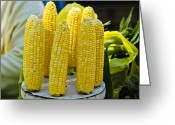 Shuck Greeting Cards - Corn on Display Greeting Card by Christi Kraft