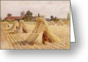 Village Church Greeting Cards - Corn Stooks by Bray Church Greeting Card by Heywood Hardy