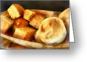 Wooden Bowls Greeting Cards - Cornbread and Rolls Greeting Card by Susan Savad