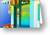 Fathers Greeting Cards - Corner Barber Shop Greeting Card by Noel Zia Lee