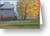 Autumn Landscape Pastels Greeting Cards - Corner of 6th and D Greeting Card by Julie Mayser