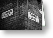 Cavern Greeting Cards - Corner Of Mathew Street And Temple Court In Liverpool City Centre Birthplace Of The Beatles  Greeting Card by Joe Fox
