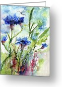 Ginette Fine Art Llc Ginette Callaway Greeting Cards - Cornflowers Korn Blumen Watercolor Painting Greeting Card by Ginette Fine Art LLC Ginette Callaway