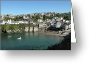 Cornwall Greeting Cards - Cornish Fishing Village Of Port Isaac, Cornwall Greeting Card by Thepurpledoor