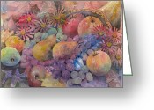Food And Beverage Painting Greeting Cards - Cornucopia Of Fruit Greeting Card by Arline Wagner