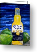 Tropical Beach Painting Greeting Cards - Corona Greeting Card by Patti Schermerhorn