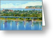 Bay Painting Greeting Cards - Coronado Island California Greeting Card by Mary Helmreich