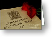 British Royalty Greeting Cards - Coronation Book with Roses Greeting Card by Lainie Wrightson