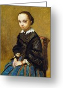 1860 Greeting Cards - COROT: GIRL, c1860 Greeting Card by Granger