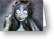 Wedding Greeting Cards - Corpse Bride Greeting Card by Jason Longstreet