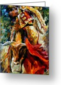 Animal Sport Greeting Cards - Corrida Greeting Card by Leonid Afremov