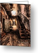 Haunted Greeting Cards - Corridor Creep Greeting Card by Andrew Paranavitana